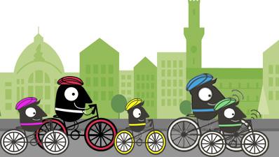 Maskotchen Edgar bei der Radtour für Jung und Alt