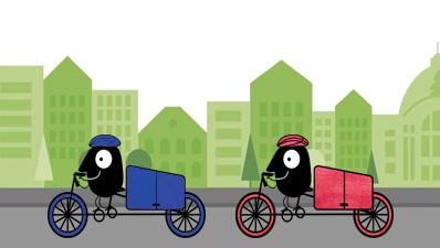 Maskotchen Edgar beim Lastenradrennen